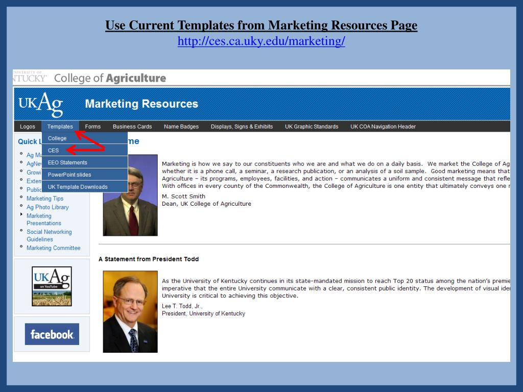 Use Current Templates from Marketing Resources Page
