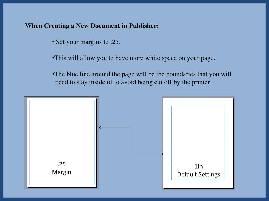When Creating a New Document in Publisher: