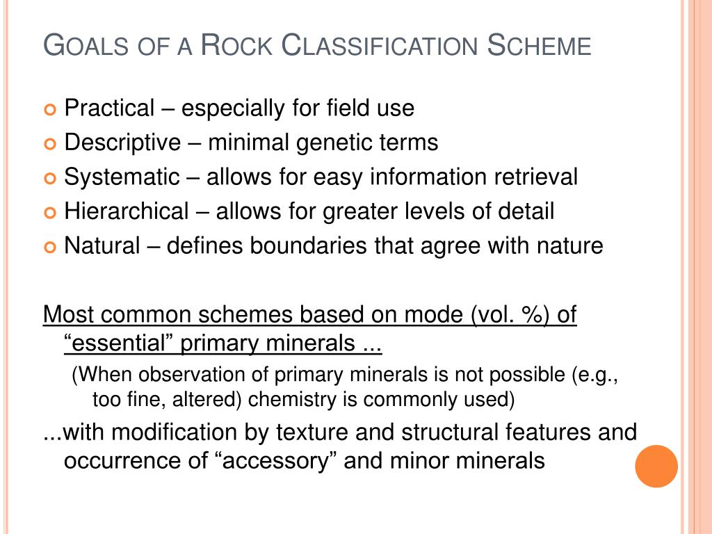 Goals of a Rock Classification Scheme