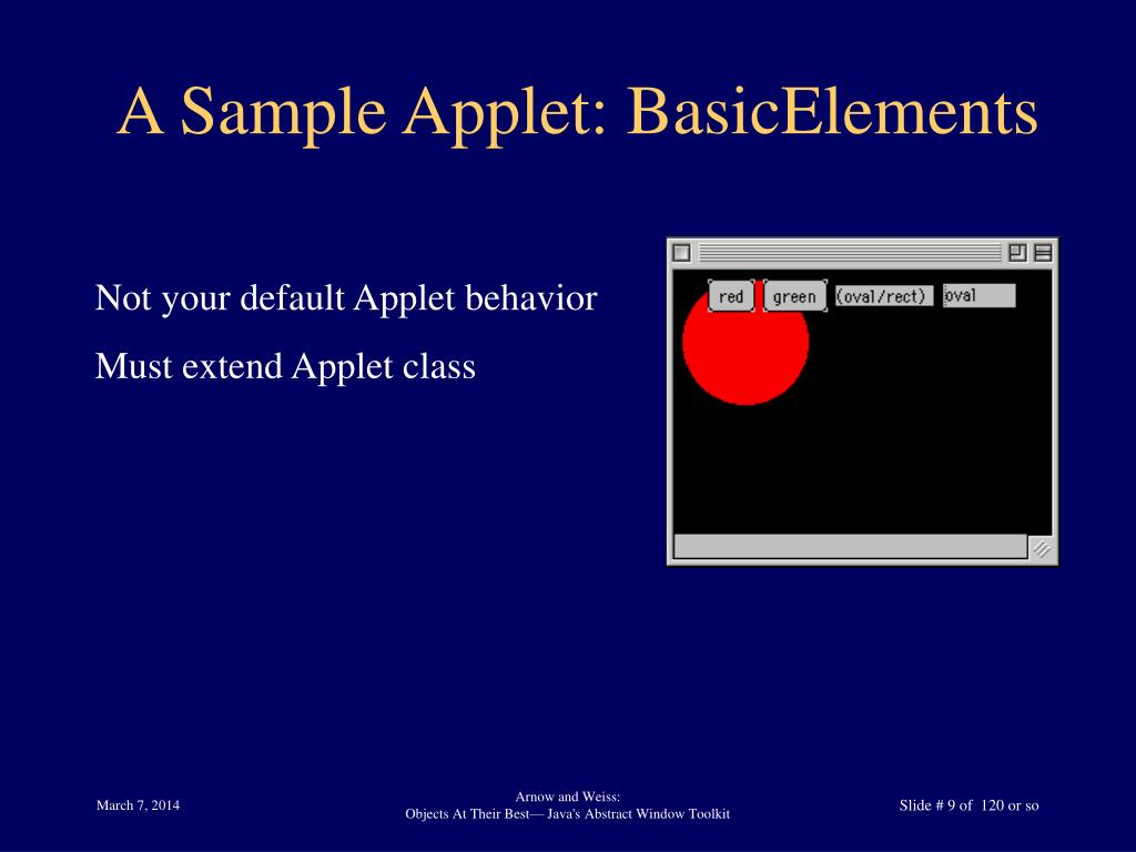 A Sample Applet: BasicElements