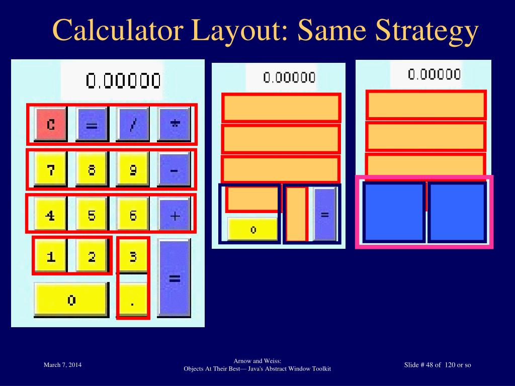 Calculator Layout: Same Strategy