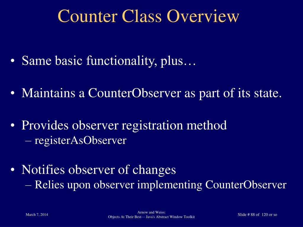 Counter Class Overview