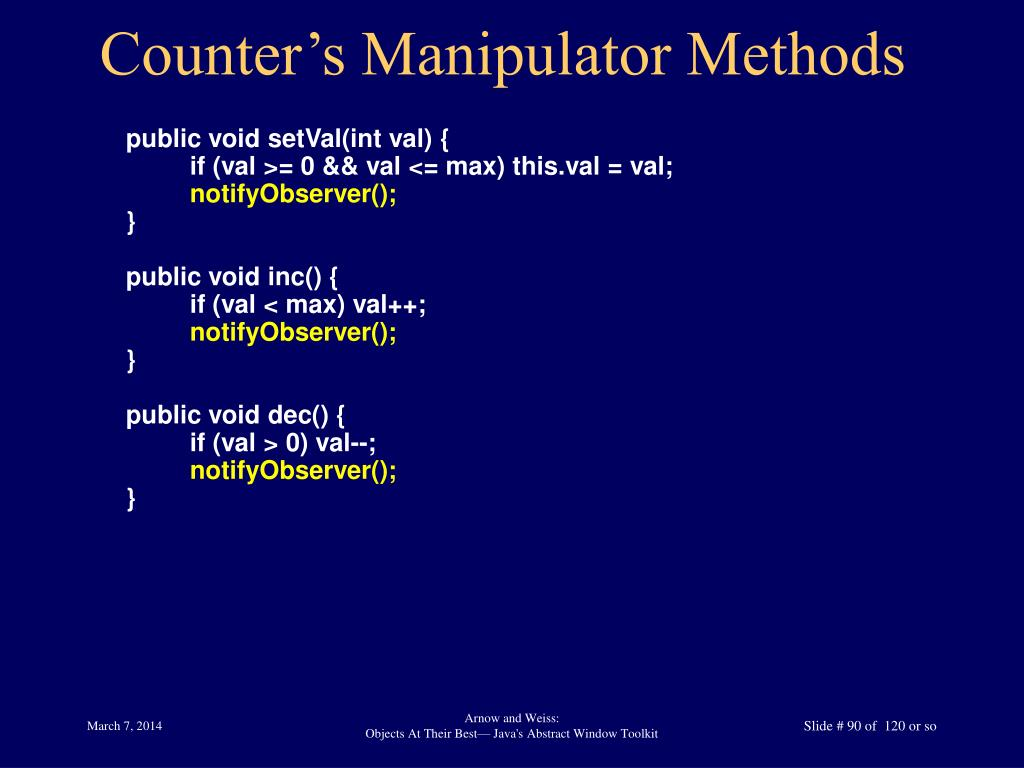 Counter's Manipulator Methods