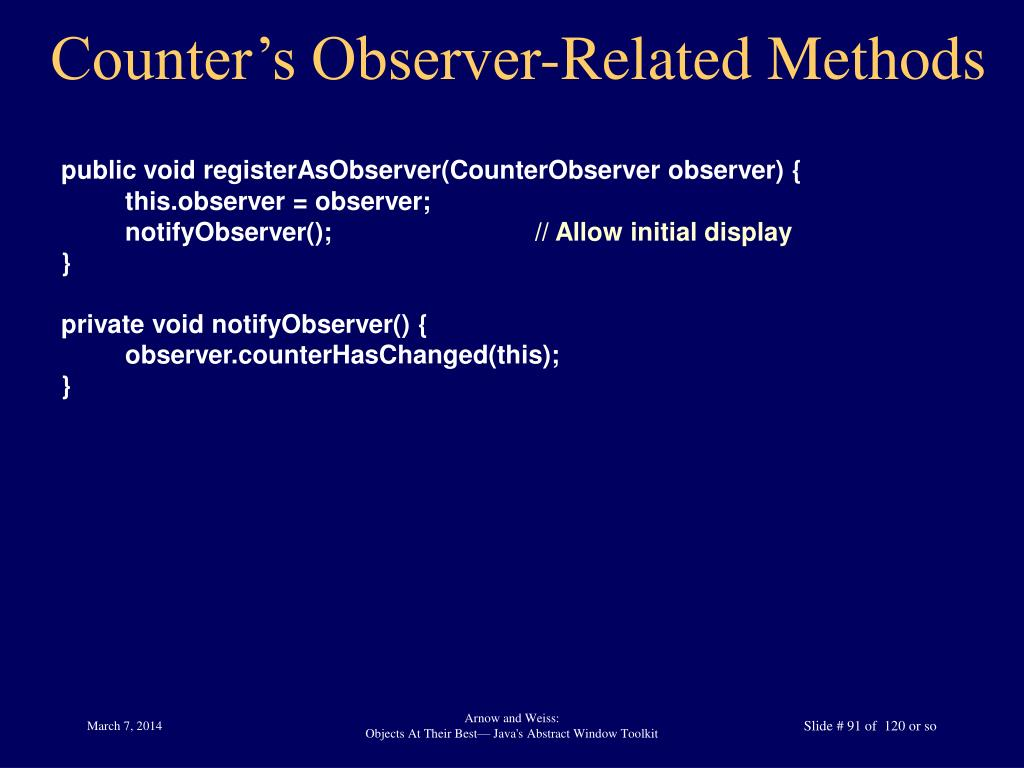 Counter's Observer-Related Methods