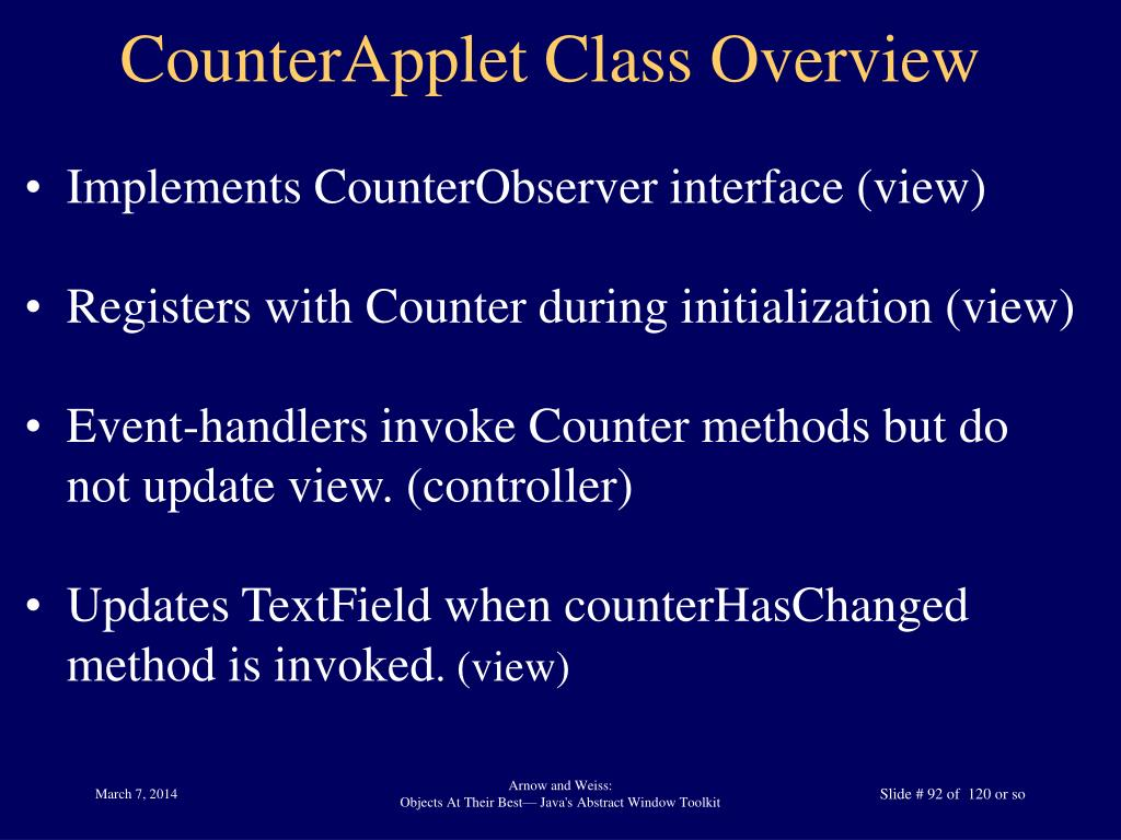 CounterApplet Class Overview
