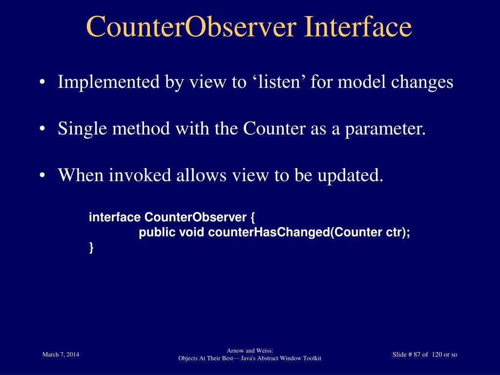 CounterObserver Interface