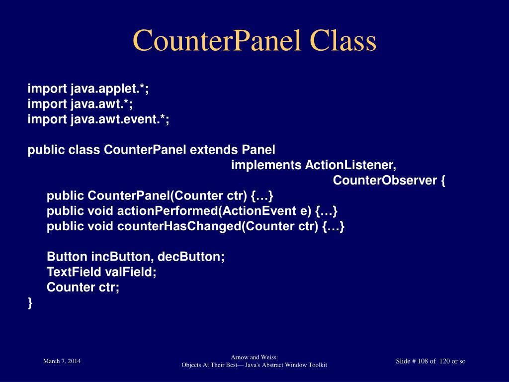 CounterPanel Class