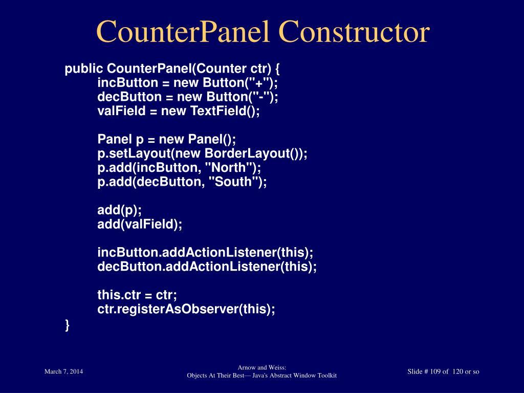 CounterPanel Constructor