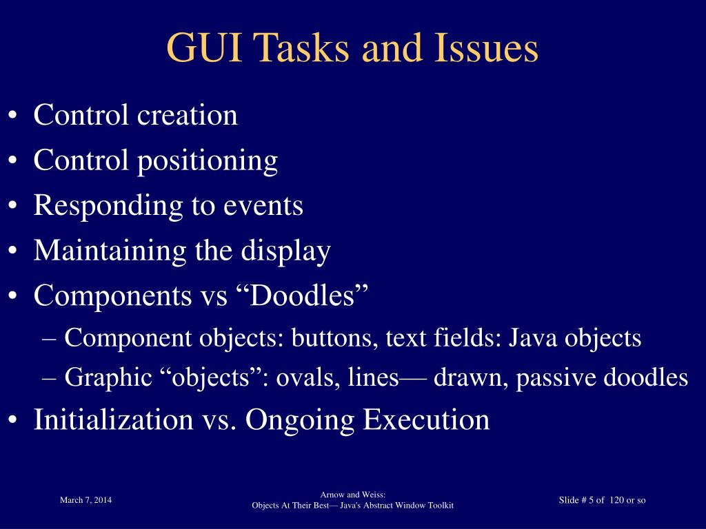 GUI Tasks and Issues