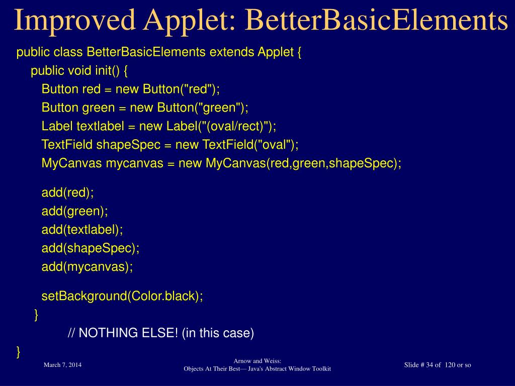 Improved Applet: BetterBasicElements