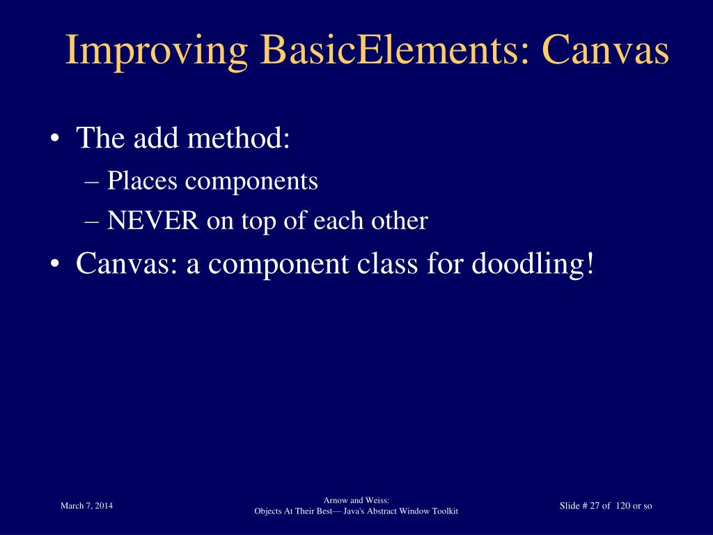 Improving BasicElements: Canvas