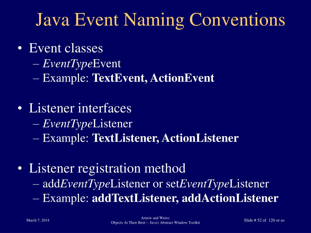 Java Event Naming Conventions