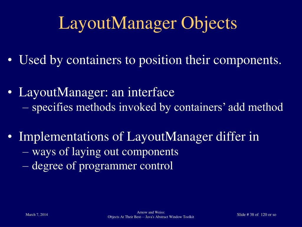 LayoutManager Objects