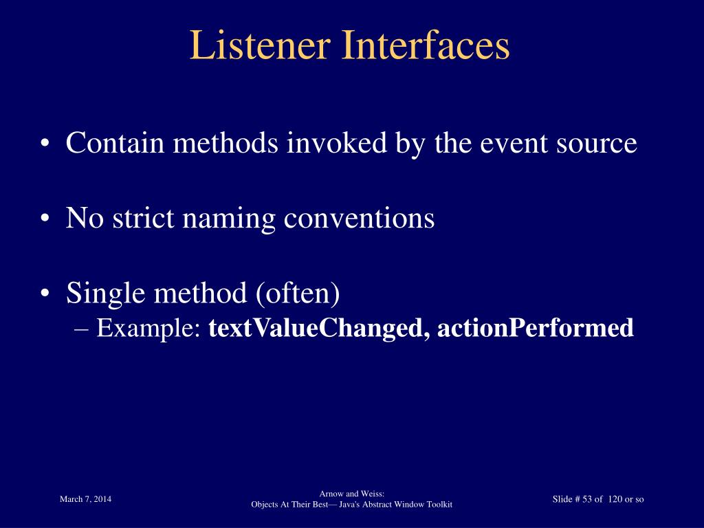Listener Interfaces