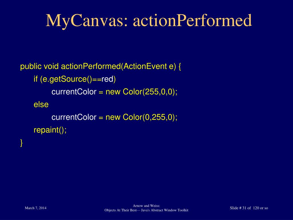 MyCanvas: actionPerformed