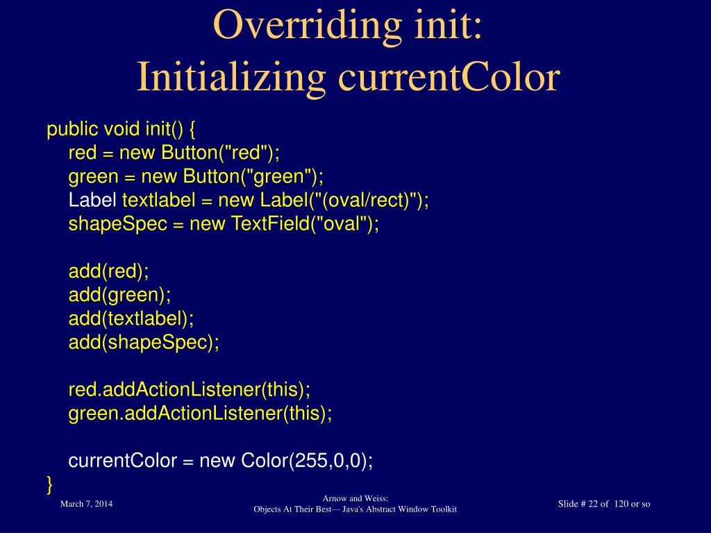 Overriding init: