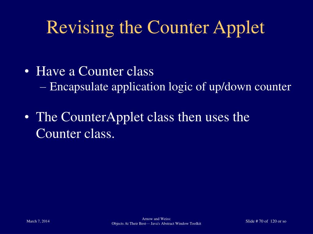 Revising the Counter Applet