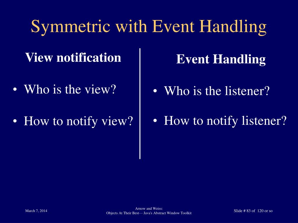 Symmetric with Event Handling