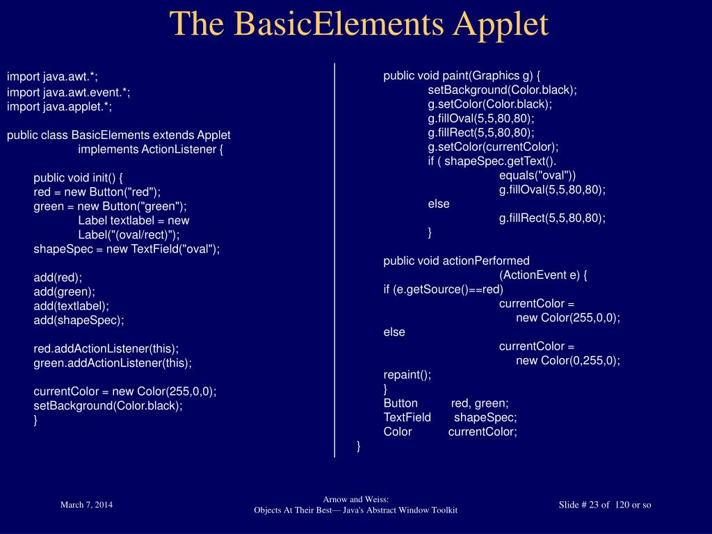 The BasicElements Applet