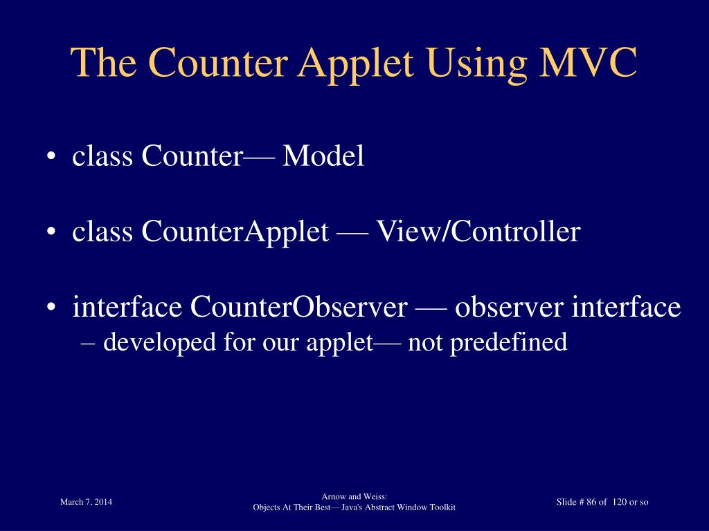The Counter Applet Using MVC