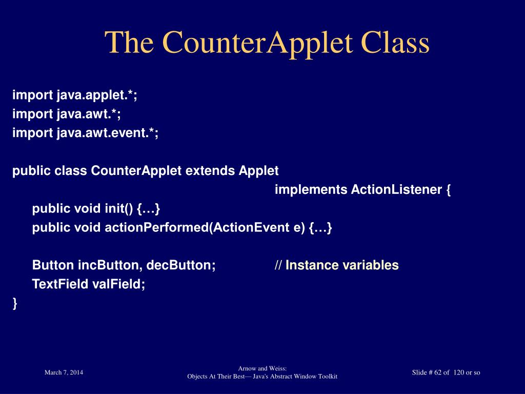 The CounterApplet Class