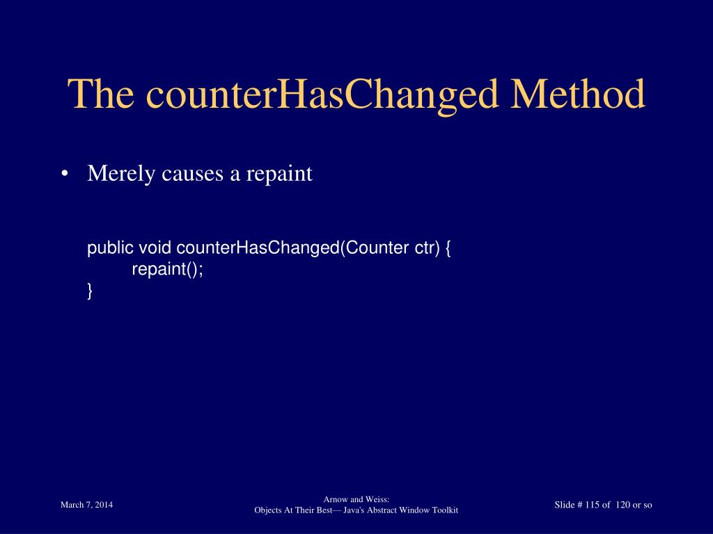 The counterHasChanged Method