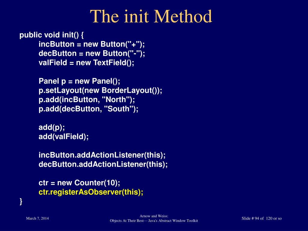 The init Method