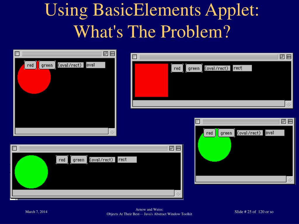 Using BasicElements Applet: