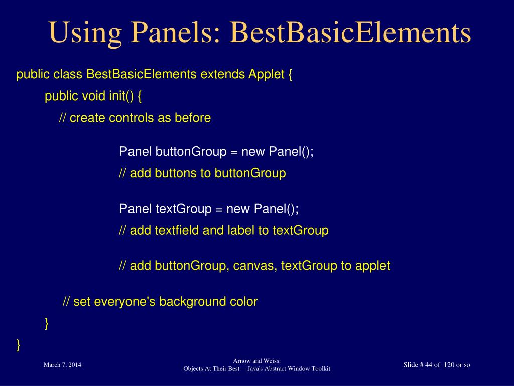 Using Panels: BestBasicElements