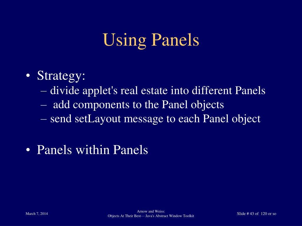 Using Panels