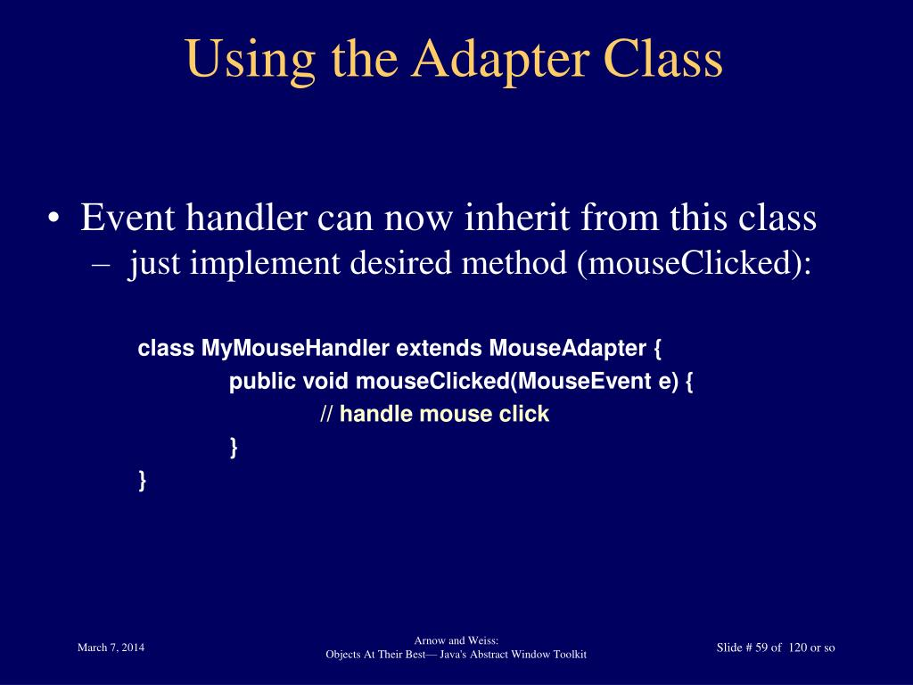 Using the Adapter Class