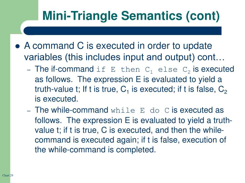 Mini-Triangle Semantics (cont)