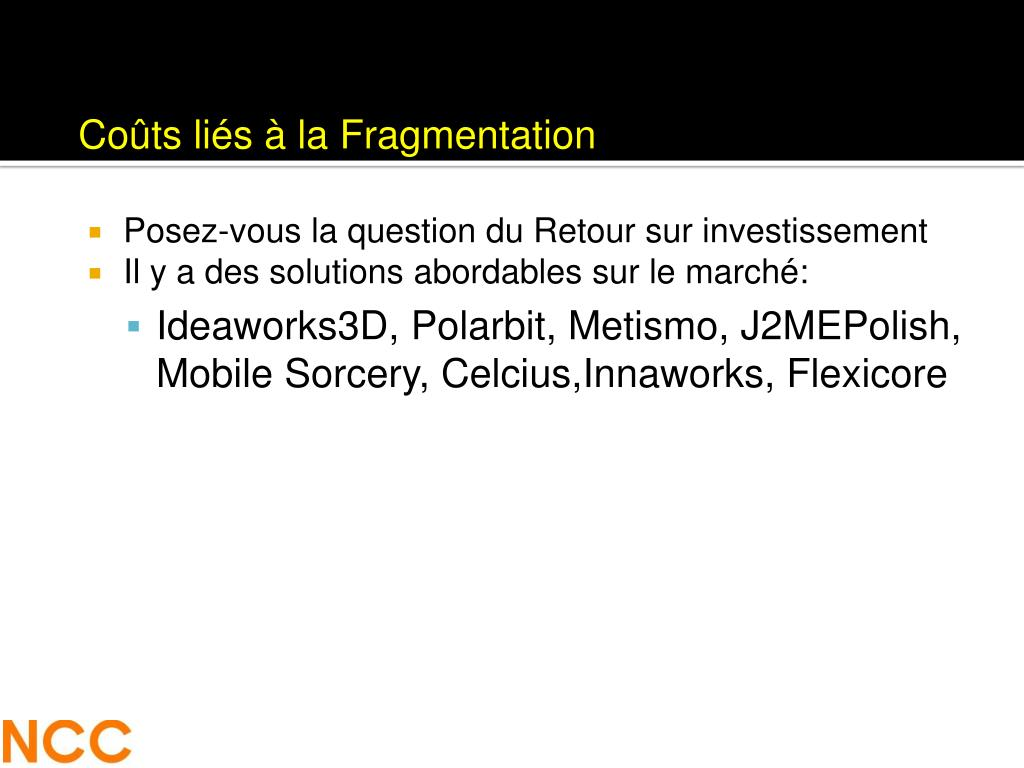 Coûts liés à la Fragmentation