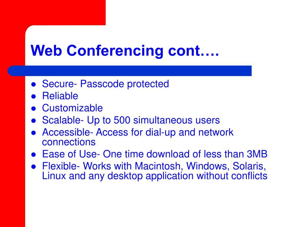 Web Conferencing cont….
