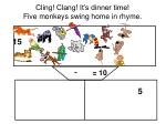 cling clang it s dinner time five monkeys swing home in rhyme