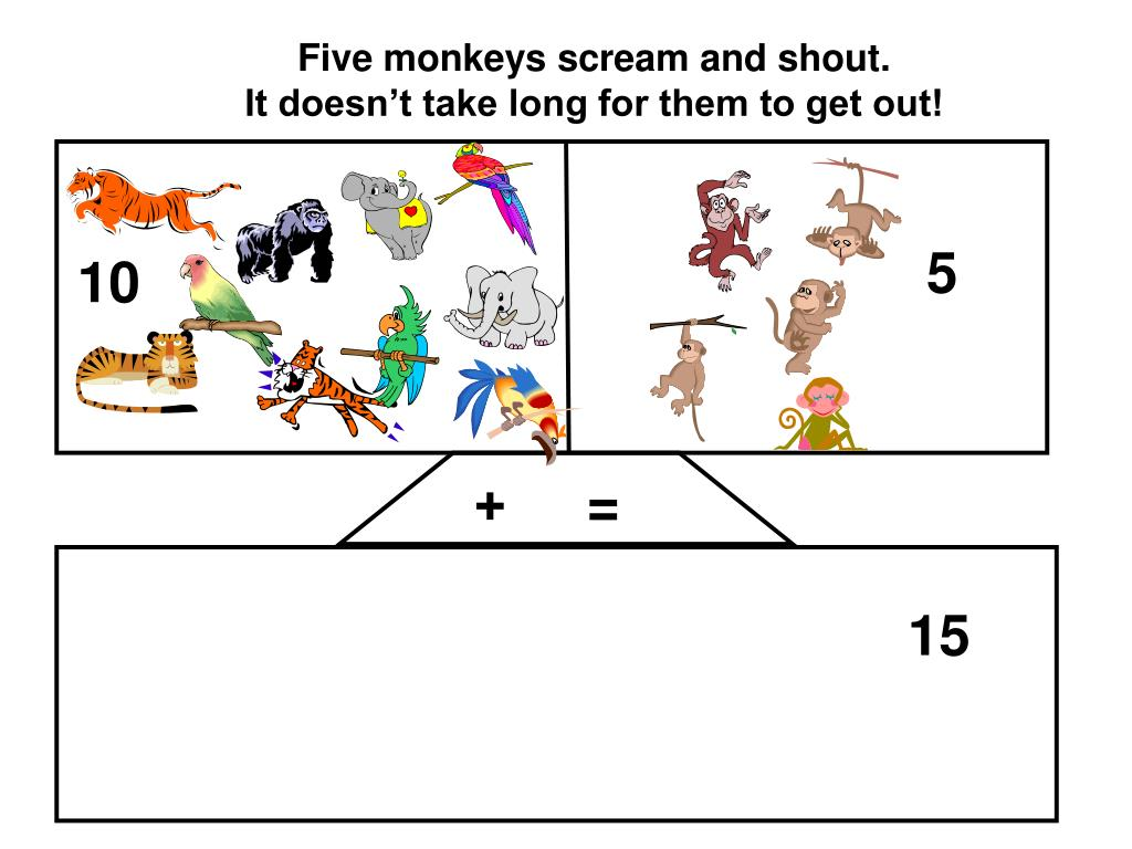 Five monkeys scream and shout.