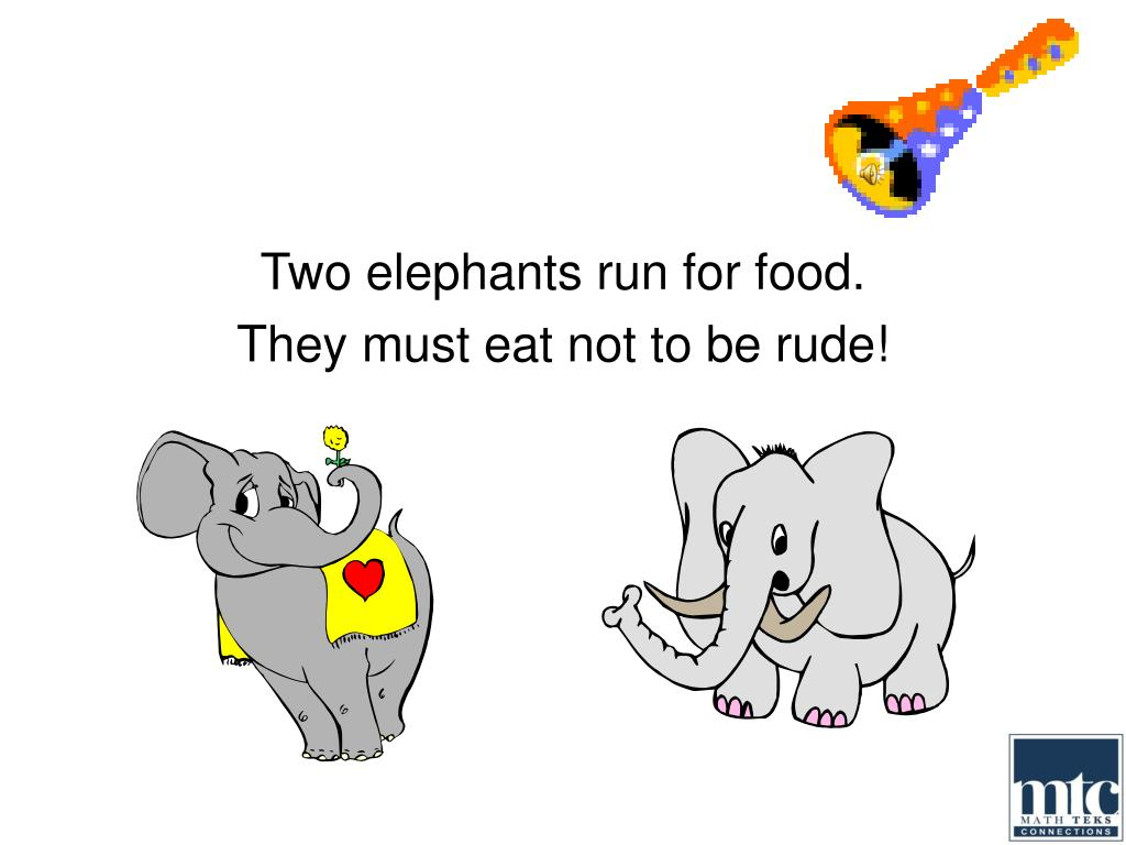 Two elephants run for food.