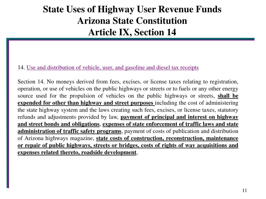 State Uses of Highway User Revenue Funds