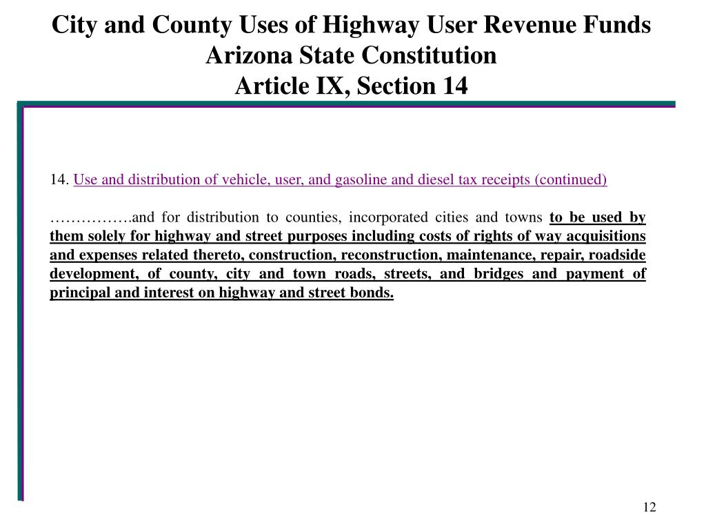 City and County Uses of Highway User Revenue Funds