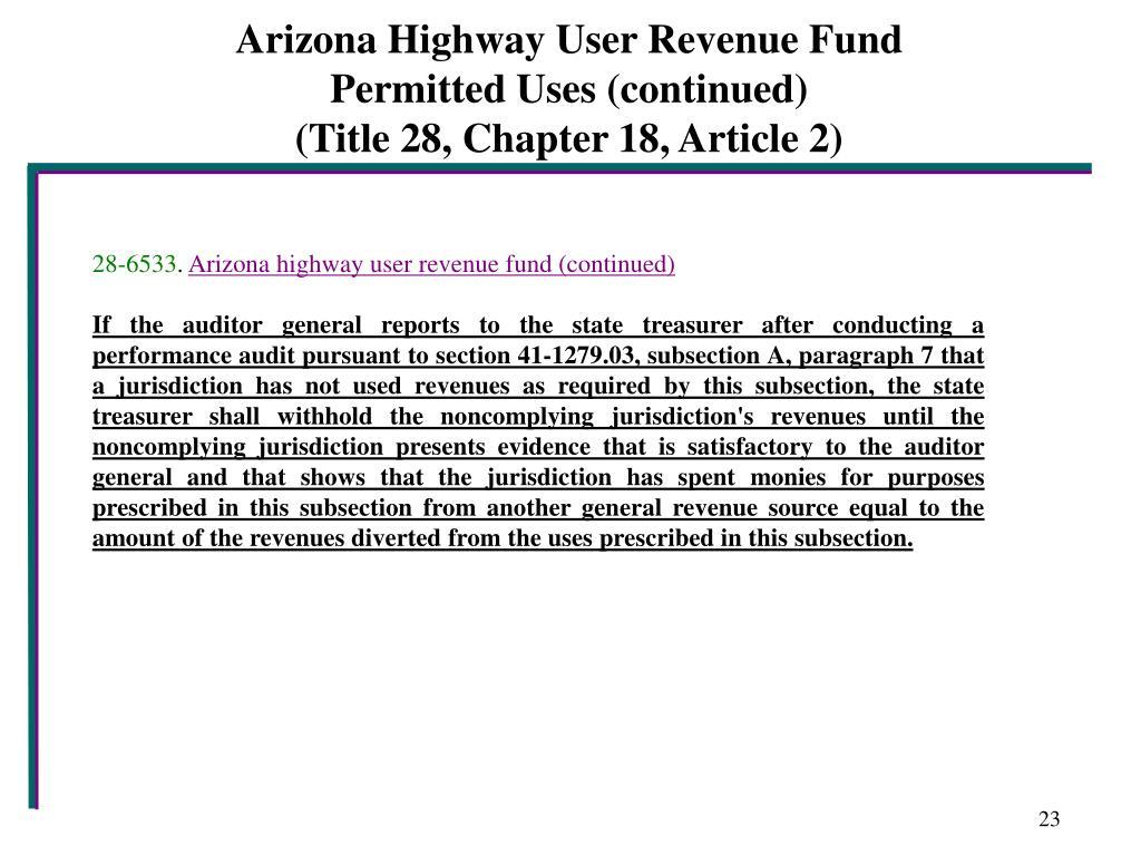 Arizona Highway User Revenue Fund