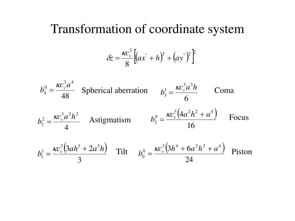 Transformation of coordinate system