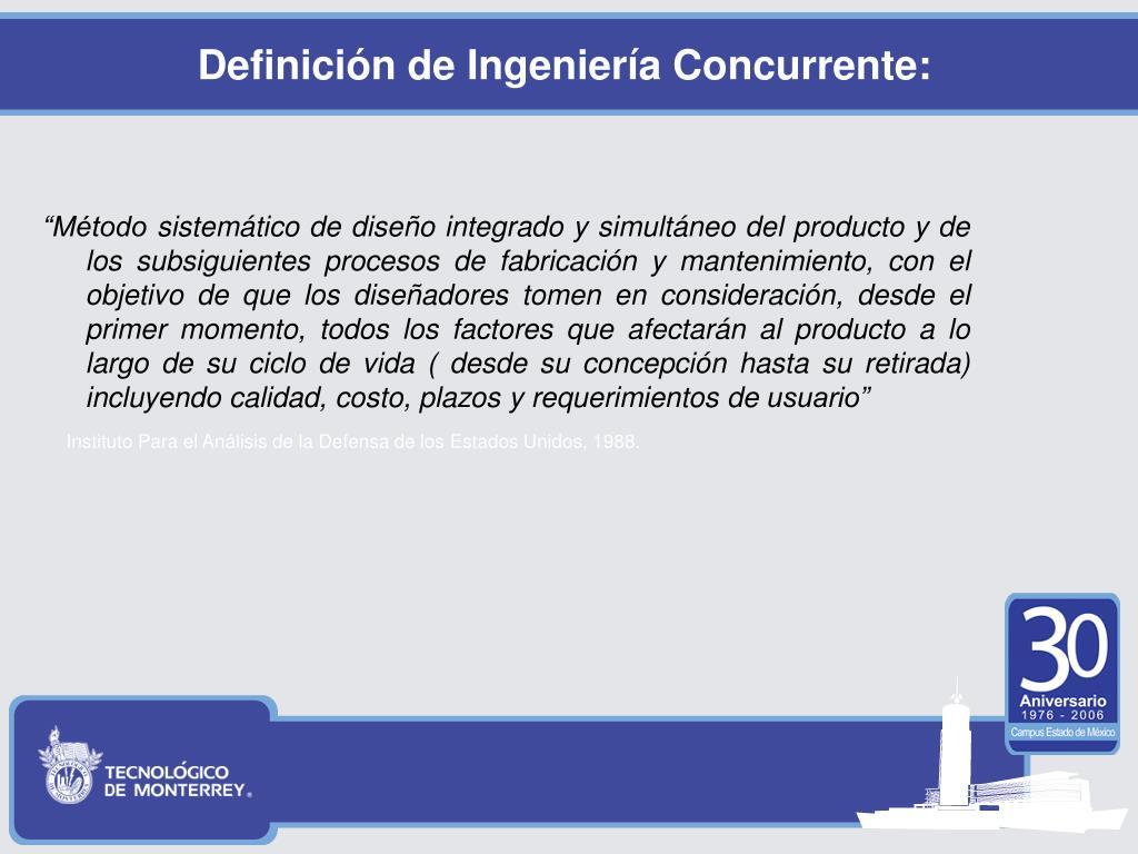 Definición de Ingeniería Concurrente: