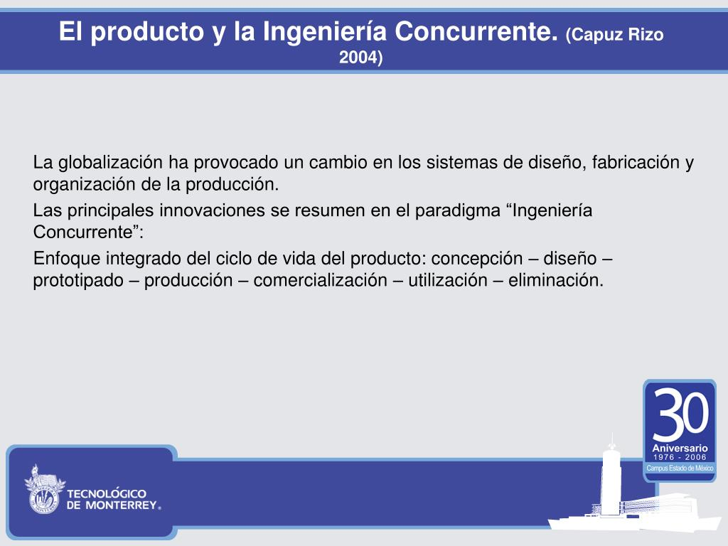 El producto y la Ingeniería Concurrente.