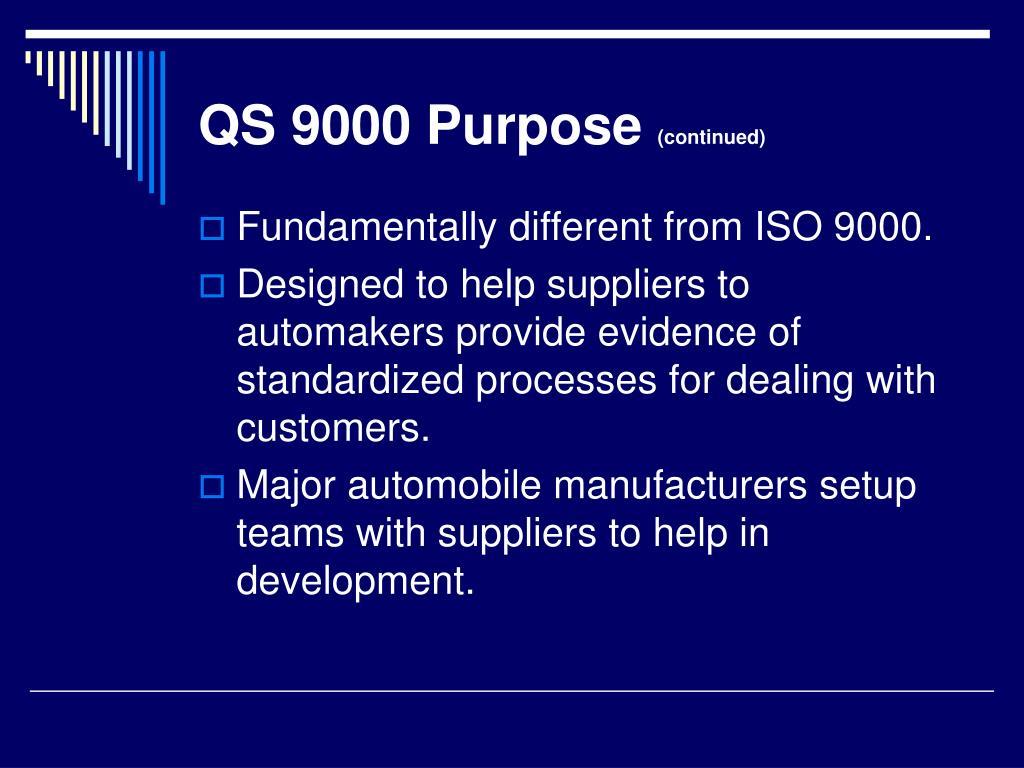 QS 9000 Purpose