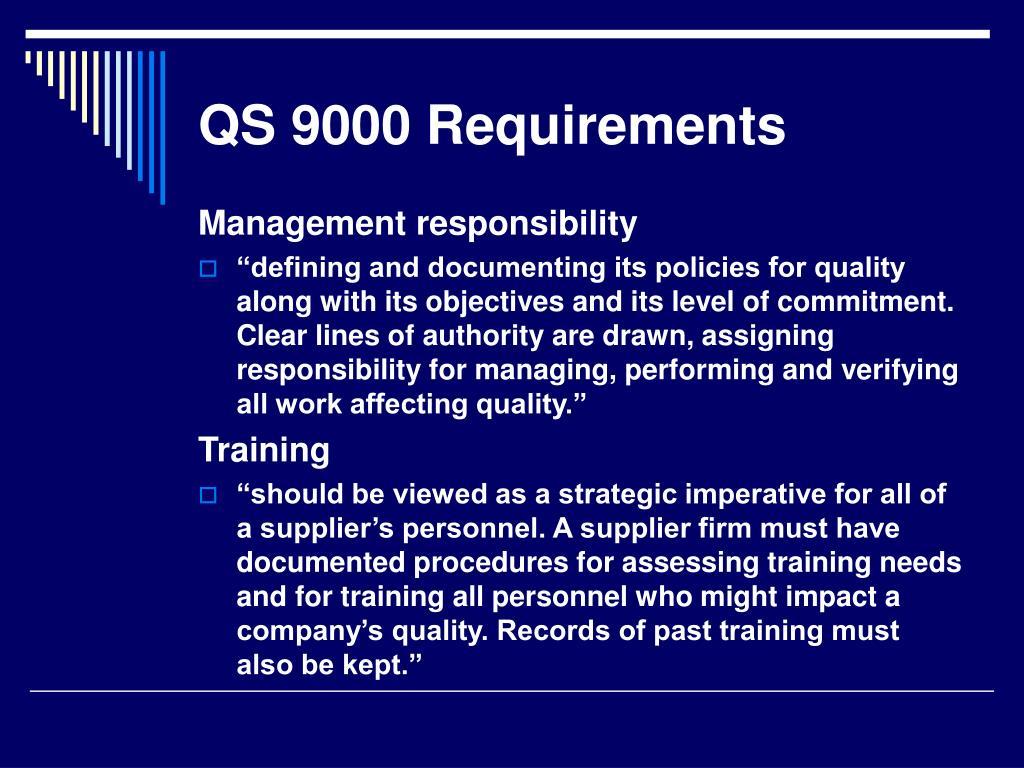 QS 9000 Requirements