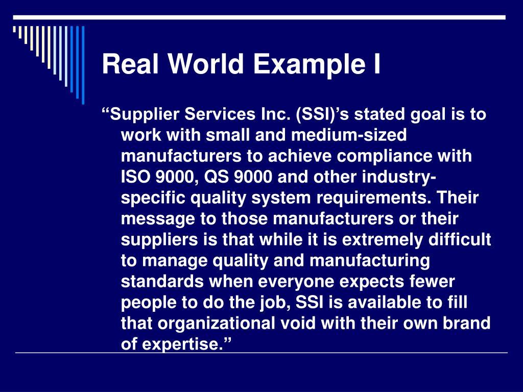 Real World Example I