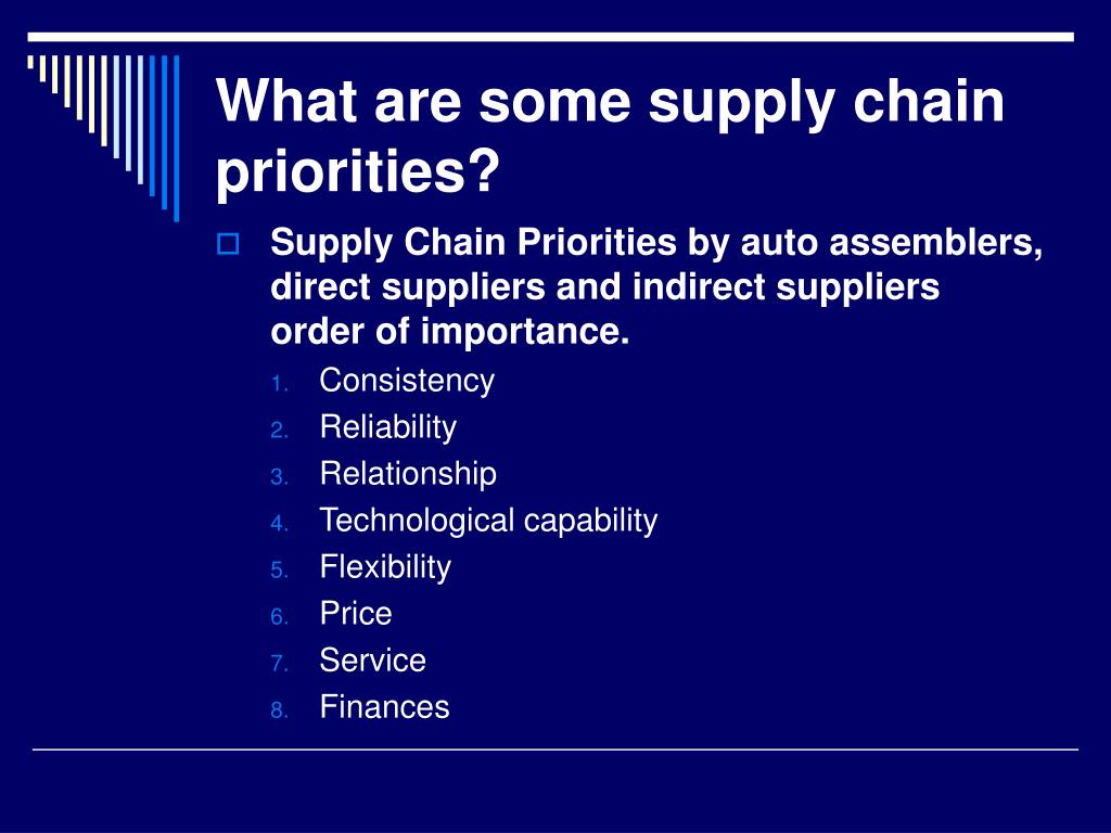 What are some supply chain priorities?
