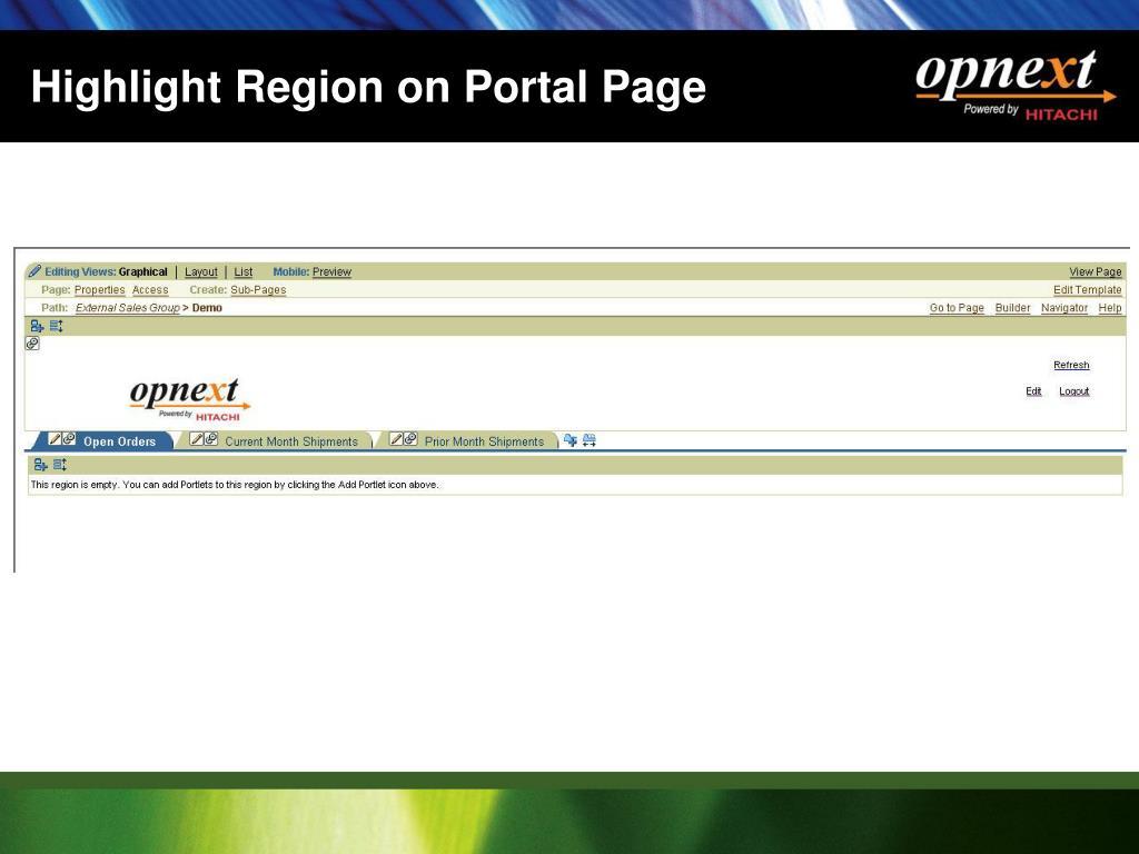 Highlight Region on Portal Page