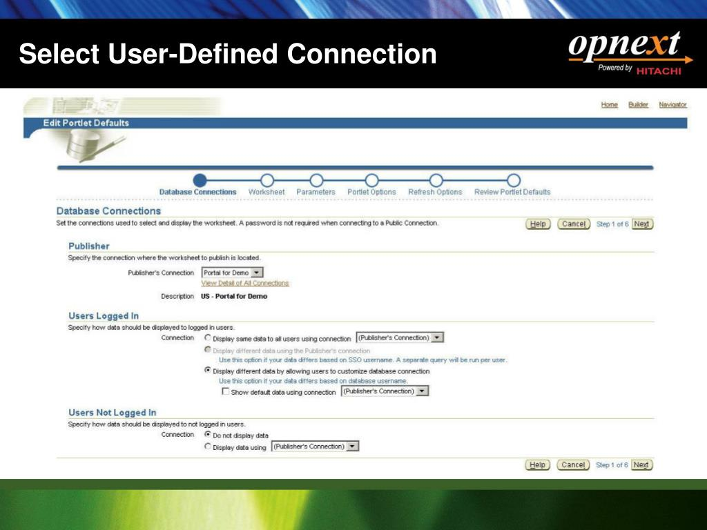 Select User-Defined Connection