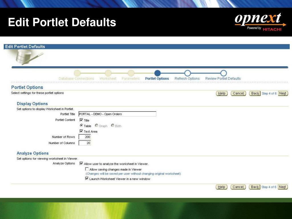 Edit Portlet Defaults